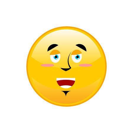 Funny Emoji isolated. Cheerful yellow circle emotion isolated