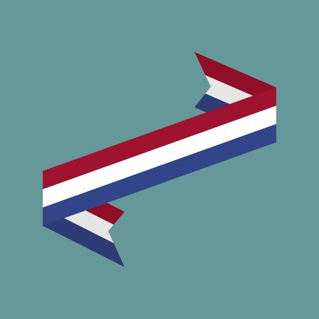 Netherlands flag ribbon isolated. Dutch tape banner. National symbol of countrys public Illustration