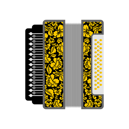 concertina: Accordion isolated. Russian National Folk Musical Instruments Illustration