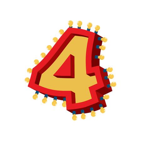 Number 4 lamp glowing font. Vintage light bulb alphabet sign four. Retro ABC sparkling lights Illustration