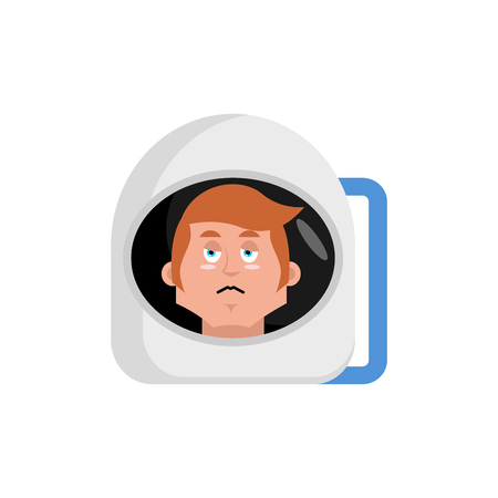 sorrowful: Astronaut sad Emoji. Cosmonaut sorrowful emotion isolated. spaceman Illustration