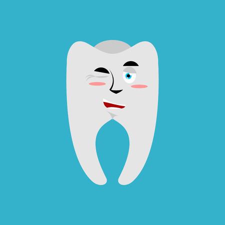 Tooth winks Emoji. Teeth emotion cheerful isolated Illustration
