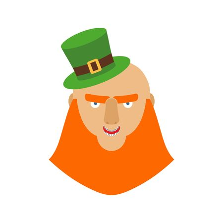 clover face: Leprechaun in green hat face. Head with Red beard. Portrait for St. Patricks Day celebration in Ireland