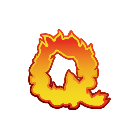 fervent: Letter Q fire. Flames font lettering. Tattoo alphabet character. fiery sign alphabet