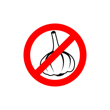 Stop garlic. Prohibiting road sign. Prohibited pungent smell Illustration