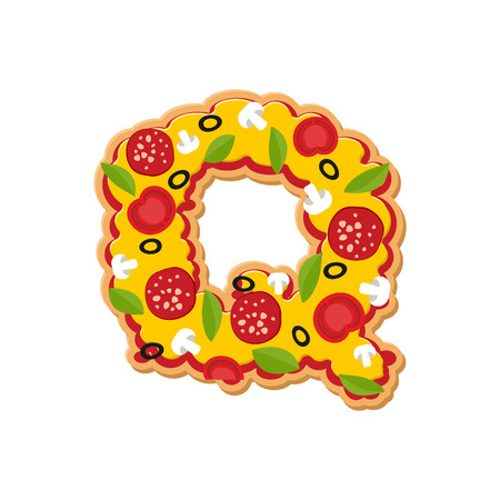 Letter Q pizza font. Italian meal alphabet. Lettring fast food