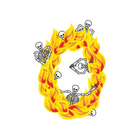숫자 0 지옥의 불길과 죄인 글꼴. 불 글자 제로. 지옥 불 알파벳입니다. 죽음의 악마와 해골의 ABC 악마 불꽃