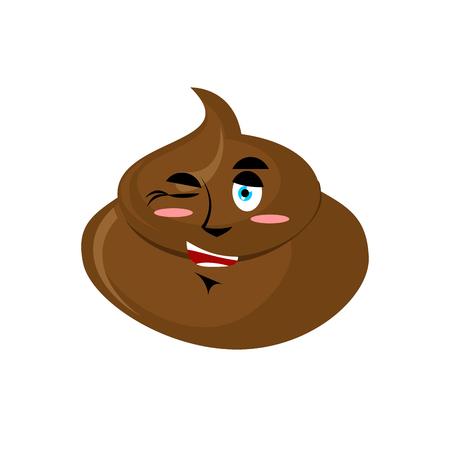 Shit winks Emoji. Turd happy emotion isolated Illustration