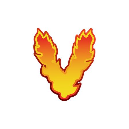 fervent: Letter V fire. Flames font lettering. Tattoo alphabet character. fiery sign alphabet Illustration