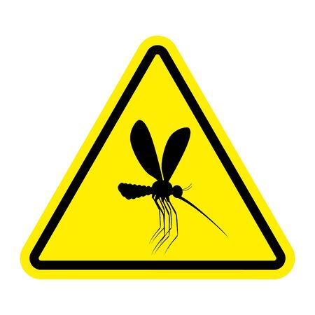 Attention mosquito. midge in yellow Triangle. Warning road sign