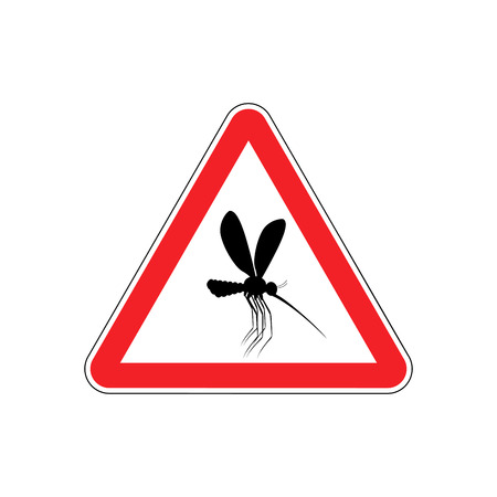 Attention mosquito. midge in Red Triangle. Warning road sign