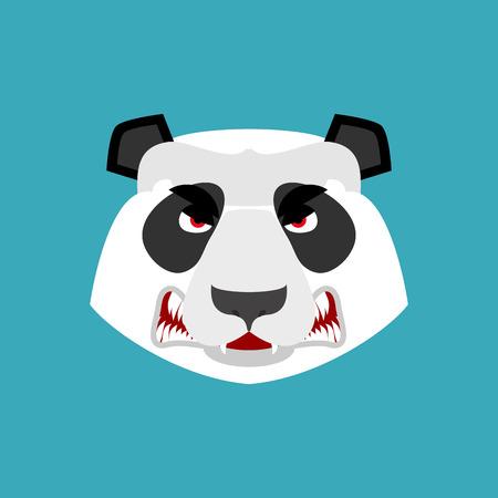 Panda angry Emoji. Chinese bear Aggressive emotion isolated Illustration