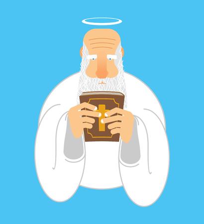 vangelo aperto: Dio e Bibbia. Vecchio, grigio, capelli, arabo. libro sacro