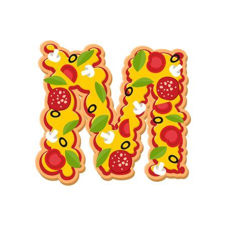 Letter M pizza font. Italian meal alphabet. Lettring fast food Illustration
