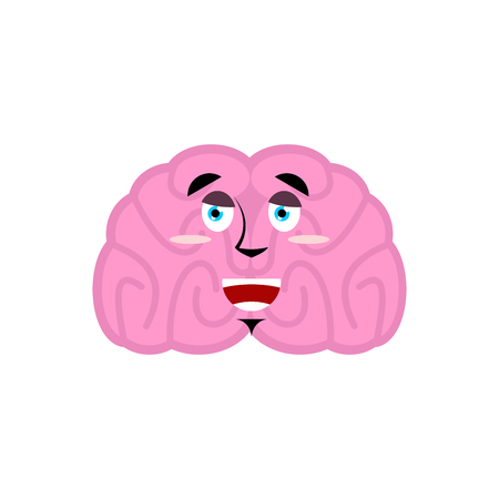 brain happy emotion. Human brains Emoji marry. Isolated Mind