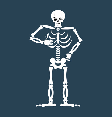 Skeleton thumbs up Emoji. Skull winks emotion isolated. Human bones