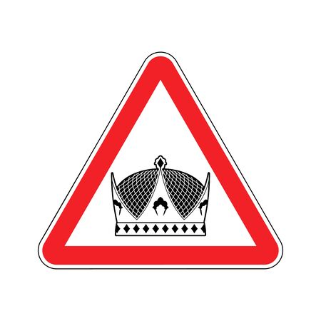 Warning king. royal Crown of red triangle. Road sign attention ruler Illustration