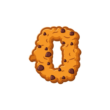 school years: Number 0 cookies font. Oatmeal biscuit alphabet symbol zero. Food sign ABC
