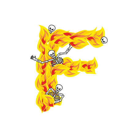 Letter F hellish flames and sinners font. Fiery lettering. Infernal fire alphabet sign. ABC devilish flame of Death Satanic and skeleton