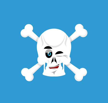 fallen: Skull and crossbones winks Emoji. skeleton head happy emotion isolated Illustration