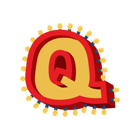 Letter Q lamp glowing font. Vintage light bulb alphabet. Retro ABC sparkling lights Illustration