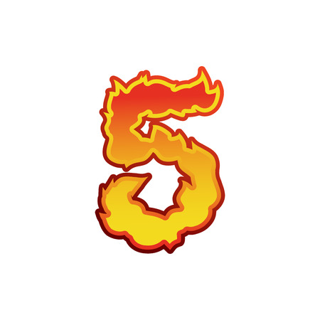 Number 5 fire. Flames Font five. Tattoo alphabet character. fiery sign ABC