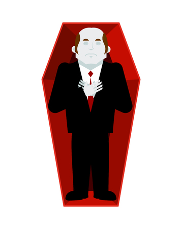 Dead man in coffin isolated. corpse in casket on white background. Religion illustration. Deceased Illustration