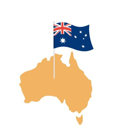 flagstaff: Australia map and flag. Australian resource and land area. State patriotic sign Illustration