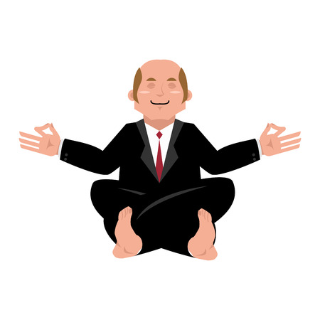 stres: Business yoga. Businessman meditating isolated. Yogi Boss. office Zen and relaxation