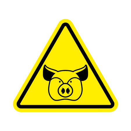 porcine: Warning Pig. swine on yellow triangle. Road sign attention to farm animal