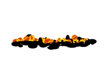fire pit: Burning charcoal isolated. hot Coal on white background