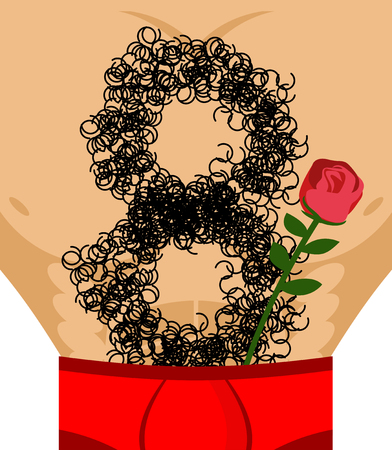 March 8. Red rose and Male hairy torso. Epilation number eight. Mens gift for International Womens Day.