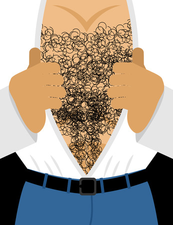 Male hairy torso. Mens muscular chest. Takes off his shirt