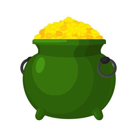 Leprechaun pot gold isolated. bowler golded coins. Legendary treasures for lucky. St.Patrick s Day. Holiday in Ireland