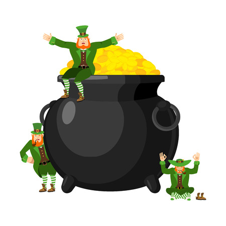 Leprechaun and pot of gold. Dwarf with red beard and boiler of golden coins. Legendary treasures for lucky. St.Patrick s Day. Holiday in Ireland