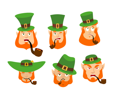 Leprechaun Emoji set. Happy and Sad. Angry and sleeping. surprised and winks. Dwarf with red beard. Irish elf emotions. St.Patrick s Day. Holiday in Ireland