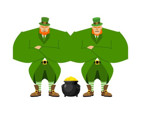 legendary: Leprechaun security bodyguard. Dwarf with red beard guarding pot gold coins. Legendary treasures for lucky. St.Patrick s Day. Holiday in Ireland