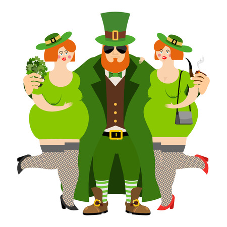 tough: Happy St.Patrick s Day. Leprechaun and beautiful girls. Kiss me Im Irish. tough guy with red beard. Cool Irish pipe and clover. Holiday in Ireland