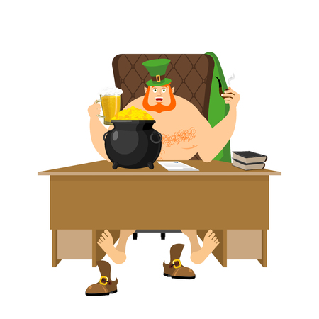 Cool Leprechaun relaxing feet on table. Mug beer and pipes. tough guy with red beard and pot of gold coins. Legendary treasures for lucky. St.Patrick s Day. Holiday in Ireland