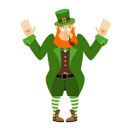 wonderment: St.Patrick s Day. Leprechaun surprised. Dwarf with red beard wonderment  Emoji. Irish elf emotions. Holiday in Ireland