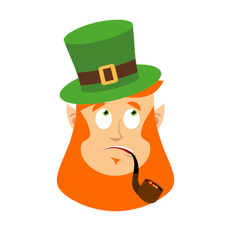 hysteria: St.Patrick s Day. Leprechaun surprised. Dwarf with red beard wonderment  Emoji. Irish elf emotions. Holiday in Ireland