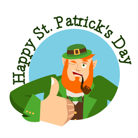 Happy St.Patrick s Day. Leprechaun winks. Dwarf with red beard thumbs up. Irish elf emotions. Holiday in Ireland