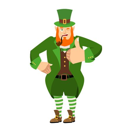 Leprechaun winks. Dwarf with red beard thumbs up. Happy St.Patrick s Day. Irish elf emotions. Holiday in Ireland