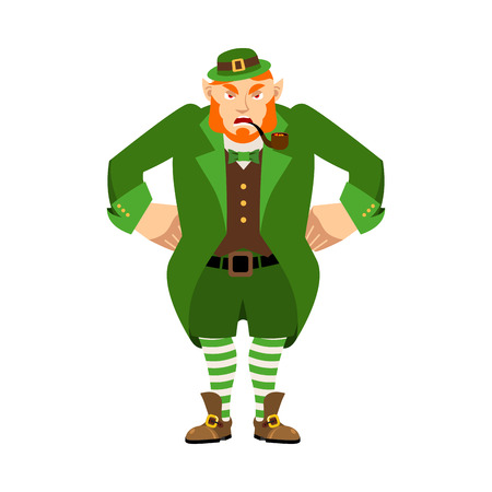 Leprechaun angry. Dwarf with red beard aggressive Emoji. Irish elf emotions. St.Patrick s Day. Holiday in Ireland