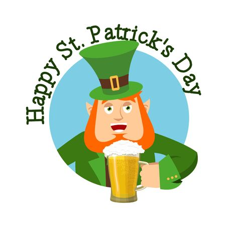stpatrick: Happy St.Patrick s Day. Leprechaun and mug beer. Dwarf with red beard mug ale. Holiday in Ireland