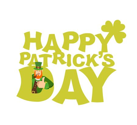Happy St.Patrick s Day emblem lettering. Leprechaun winks. Dwarf with red beard thumbs up. Irish elf emotions. Holiday in Ireland Ilustração