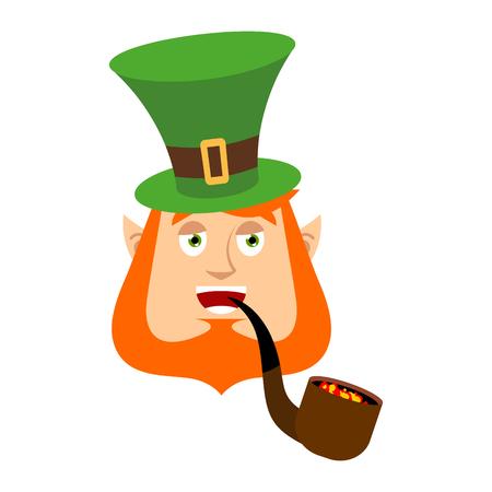Leprechaun happy. Dwarf with red beard merry Emoji. Irish elf emotions. St.Patrick s Day. Holiday in Ireland