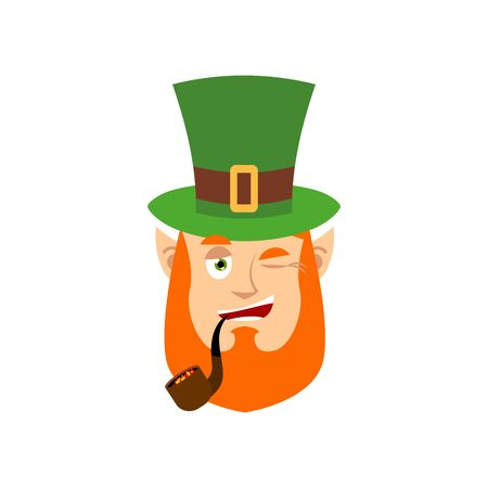 Leprechaun winks. Dwarf with red beard happy Emoji. Irish elf emotions. St.Patrick s Day. Holiday in Ireland
