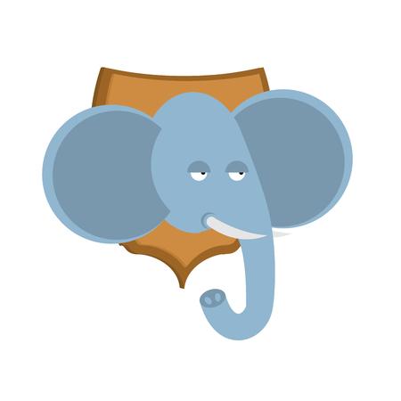 Elephant hunter trophy. Head of African animal on board shield. Stuffed wild beast Illustration