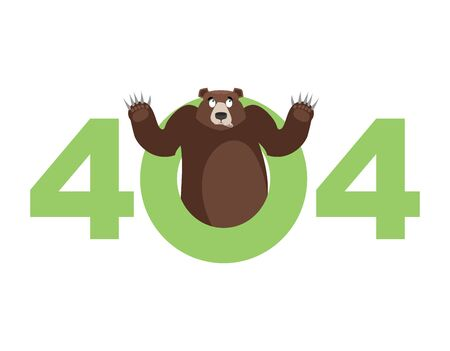 Error 404. Bear surprise. Page not found template for web site. Grizzly does not know and is surprised. Page lost and found message. problem disconnect Illustration